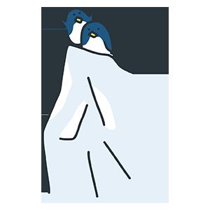 氷の上にいるペンギンのイラスト