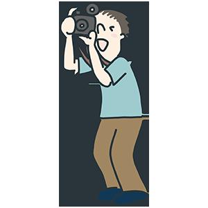 写真撮影している男性のイラスト