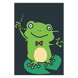 指揮棒をふるカエルのイラスト