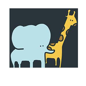 キリンと象のイラスト