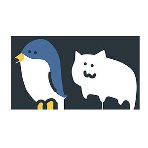 ペンギンとねこのイラスト