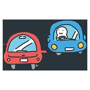 赤と青の車のイラスト