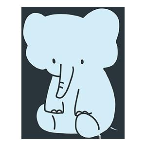 青い象のイラスト