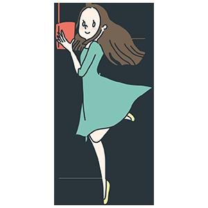 本を持つ女性のイラスト