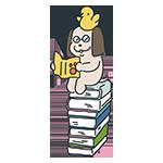 本の上で本を読む犬のアイキャッチ