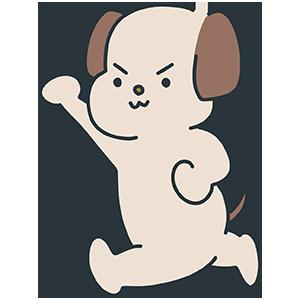 手を挙げている犬のイラスト