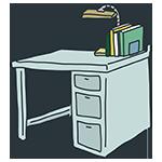 レトロな机のアイキャッチ