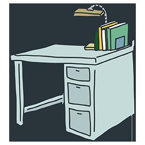 レトロな机のイラスト