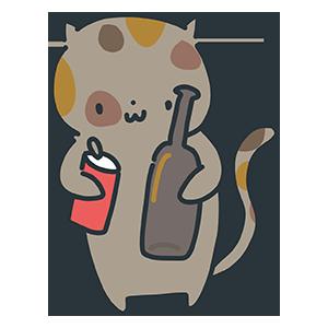 ビンと缶を持つ猫のイラスト