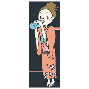 ラムネを飲む女性のイラスト