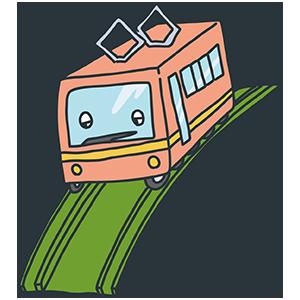電車のおもちゃのイラスト