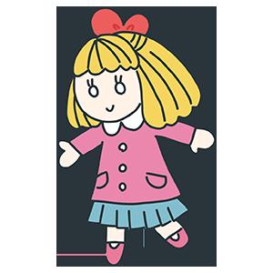 女の子のお人形のイラスト