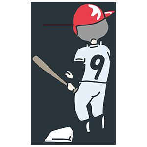 野球している人の後ろ姿のイラスト