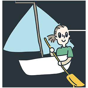 船を漕いでいる人のイラスト