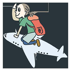 飛行機に乗っている人のイラスト