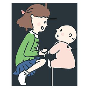 赤ちゃんと女性のイラスト