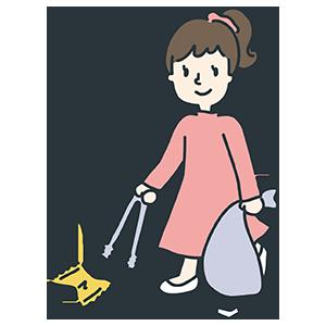 ゴミを拾っている女性のイラスト