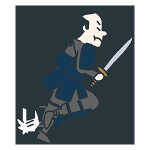 剣を持ち走り出した武士のイラスト