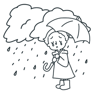雨雲と少年のぬりえ