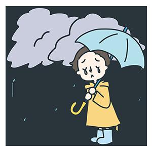 雨雲と少年のイラスト