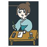 筆をとっている女性のアイキャッチ