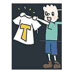 Tシャツを広げている人のアイキャッチ