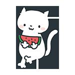 スイカを食べている猫のアイキャッチ