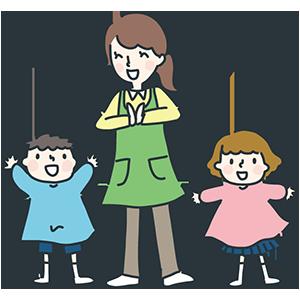 幼稚園児と先生のイラスト