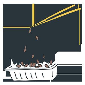 糸を引く納豆のイラスト