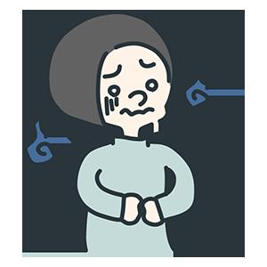 お腹を抑えた女性のイラスト