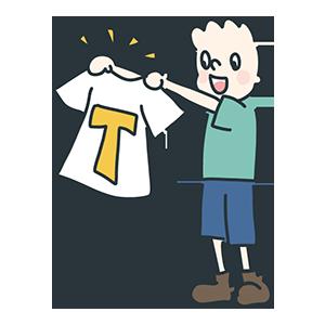 Tシャツを広げている人のイラスト