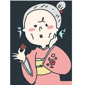 すっぱい梅干しを食べている女性のイラスト