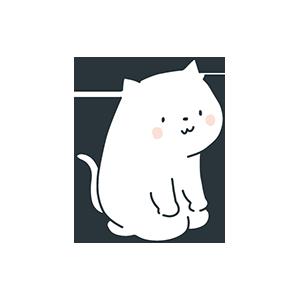 正座している猫のイラスト
