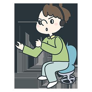 座って何かを操作している人のイラスト