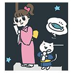 星に願っている女の子と猫のアイキャッチ