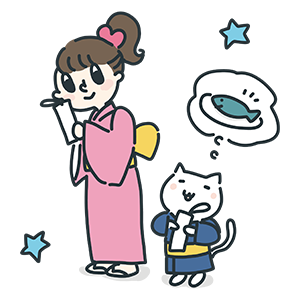 星に願っている女の子と猫のイラスト