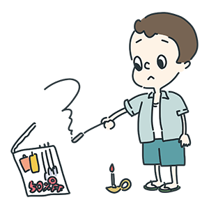 湿気った花火を持つ少年のイラスト