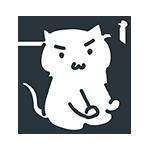 怒っている白い猫のアイキャッチ