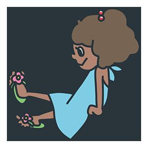 水色のワンピースを着た女の子のイラスト