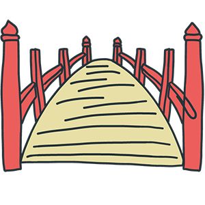 赤い橋のイラスト