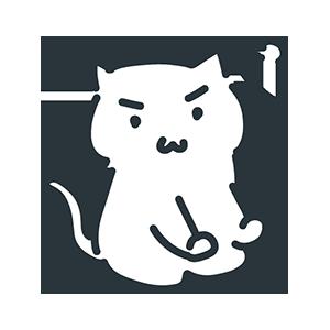 怒っている白い猫のイラスト