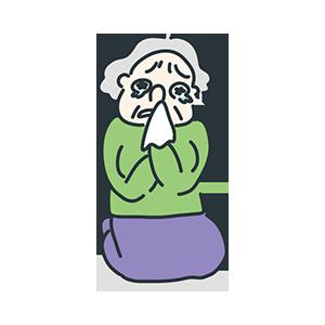 泣いているおばあちゃんのイラスト