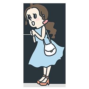 青いワンピース着た女の子のイラスト