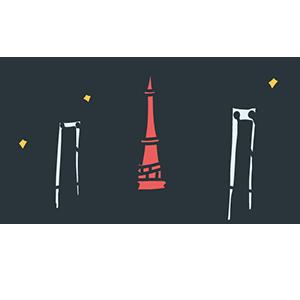 東京タワーとレインボーブリッジのイラスト
