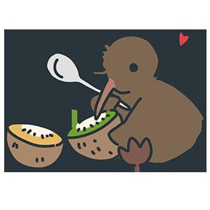 キウイを食べるキウイをイラスト