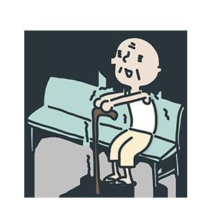 ベンチに座る震える老人のイラスト