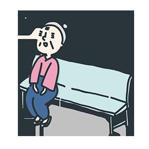ベンチに座る朗らかな女性のイラスト