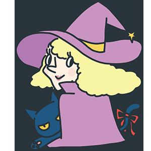 ハロウィンの魔女と黒猫のイラスト