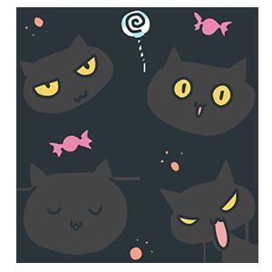 ハロウィンの黒猫のイラスト
