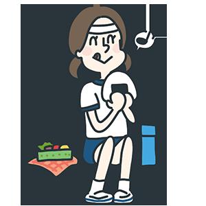 お弁当を食べている女の子のイラスト